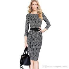 2017 New Fashion Women Printed Dress Spring Summer 3/4 Sleeve Geometrical Sexy Sheath Bodycon OL Casual Slim Ruffle Peplum Pencil Dresses Geometric Print Women Dresses Sheath Boydcon Dress Women Pencil Dress Online with $17.89/Piece on Wangwenxia1992's Store | DHgate.com