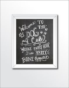Printable Chalkboard Art Dog Cafe by Cmykprintabledesign on Etsy