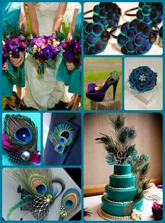Peacock color scheme - really only pinned this for the first pic - teal bridesmaid dresses with purple bouquets -  take the yellow and pink out of the brides bouquet and replace with deep purple roses.