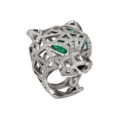 Panthère de Cartier ring - 18K white gold, emeralds, diamonds - Fine Rings for women - Cartier