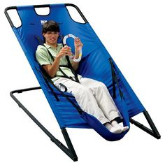 """Sink in the center lounger is perfect for all ages. The user controls the amount of  motion. Heavy-duty frame is easy to assemble. Provides vestibular stimulation.  66""""L x 36""""W x 50""""H. Wt .Capacity 175 lbs."""