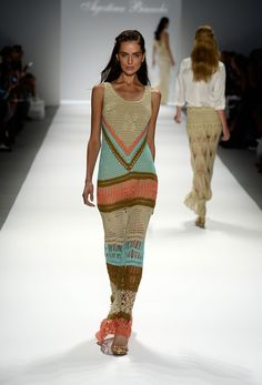 Agostina Bianchi: Spring Summer 2014. Multi coloured crochet lurex thread design.