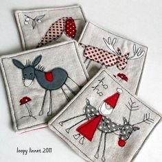 embroidered and appliqued Christmas coasters