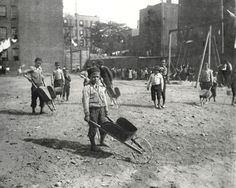 Children's playground in Poverty Gap. Photograph by Jacob Riis. New York City, 1890.
