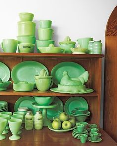 Before there was Tupperware there was Jadeite.  During the depression when housewives couldn't afford to waste a crumb glassware manufacturers turned out inexpensive jadeite with flat lids for storing and stacking all manner of ingredients.  This pin is from Martha Stewart's collection of jadeite.  #lifeinstyle & #greenwithenvy