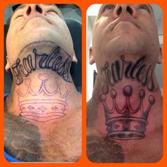 Throat and neck tattoo