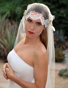 Art deco Juliet cap lace and tulle wedding veil