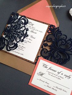 Wedding Invitation Suite - Navy and Coral