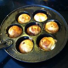 This traditional Danish breakfast treat made with a special aebleskiver pan is a cross between a pancake and a popover. Sprinkle with confectioners sugar or drizzle with maple syrup or jam. Brunch Recipes, Gourmet Recipes, Breakfast Recipes, Healthy Recipes, Breakfast Ideas, Yummy Recipes, Danish Pancakes, Pancakes And Waffles