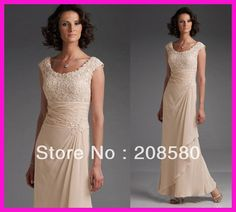 Champagne Jewel Cap Sleeve Lace Ankle Length Mother of the Bride Dresses Gowns M1536