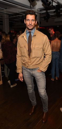 David Gandy attends the Oliver Spencer Vero British GQ 'Buy Now' Catwalk Show…