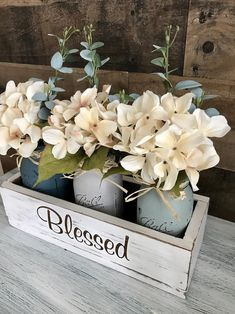 Dining Table Centerpiece Rustic Home Decor Floral Centerpiece Mason Jar Decor Floral Arrangement Bedroom decor Dining Room Table Centerpieces, Decoration Table, Floral Centerpieces, Floral Arrangements, Wood Box Centerpiece, Mason Jar Centerpieces, Wedding Arrangements, Dining Chairs, Beautiful Dining Rooms