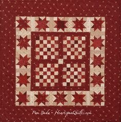 This is Checkerboard Star quilt doll size made from just one Prairie Gathering precut! pattern at HeartspunQuilts.com