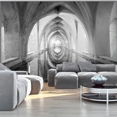 Wallpaper 400x280 cm - Non-woven- 3 colours to choose - Murals - Wall - Mural - Photo - modern - Free glue for each wallpaper - Gothic Architecture Arc Corridor Hall d-B-0028-a-d: Amazon.co.uk: DIY & Tools