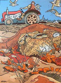 Hare and Tractor - Andrew Haslen - linocut