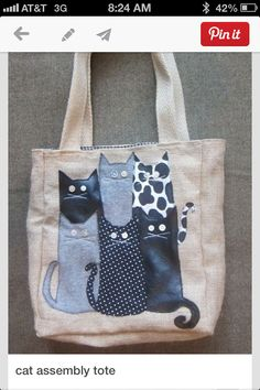 Cat assembly tote image onlycat assembly tote: do this to all those extra totes you get with company logos on them.Inspiration to covet all those free bags. Patchwork Bags, Quilted Bag, Diy Sac, Cat Bag, Denim Crafts, Cat Quilt, Recycle Jeans, Recycled Denim, Fabric Bags
