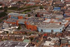 An aerial shot of the Potteries Shopping Centre