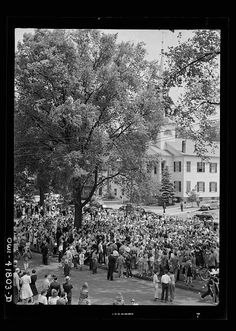 Southington, Connecticut. An American town and its way of life. The Memorial Day parade moving down the main street. The small numbers of spectators is accounted for by the fact that the town's war factories did not close