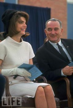 First Lady Jacqueline Kennedy sits with Vice President Lyndon Johnson in San Antonio on November 21, 1963.