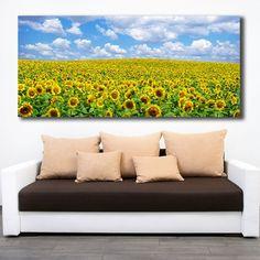 Λιβάδι με ήλιους πανοραμικός πίνακας σε καμβά