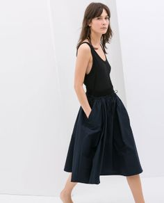 POPLIN SKIRT WITH ELASTIC WAISTBAND from Zara