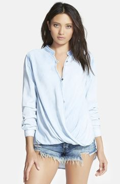 Free shipping and returns on BLANKNYC 'Sugar Baby' Shirt at Nordstrom.com. A chic denim top is styled with a graceful surplice front and vented shirttail hem.