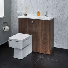 MyPlan slimline mini unit with basin / WC unit and cupboard right hand - walnut | bathstore
