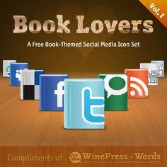Book Lovers Social Media Icon Set