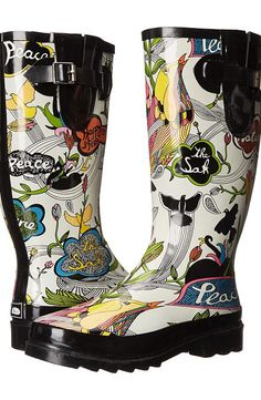Sakroots Rhythm (White Peace) Women's Rain Boots - Sakroots, Rhythm, 106485-111, Footwear Boot Rain, Rain, Boot, Footwear, Shoes, Gift - Outfit Ideas And Street Style 2017