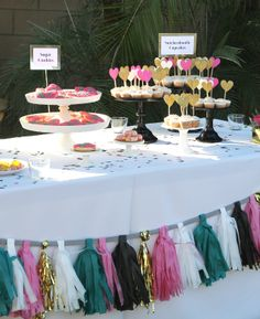 Dessert table set up adorned with festive confetti system. Festa Party, Party Party, Party Ideas, Confetti System, Diy Confetti, Engagement Celebration, Holiday Parties, Bridal Parties, Gold Party