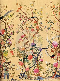 Romantic Oriental Flowers and Birds Art Wallpaper