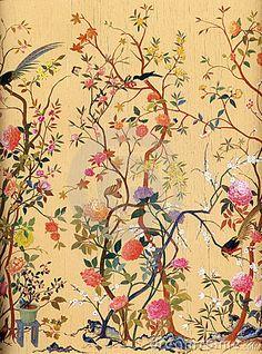 Het Behang van de Kunst van bloemen en van Vogels
