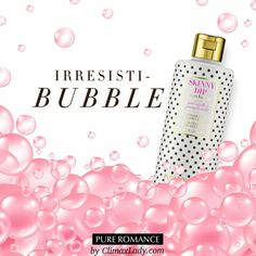 Stress, anxiety, worries … take it all off! Enjoy spa-quality treatment with this pH-balanced combination body wash and bubble bath.  Skinny Dip by Pure Romance