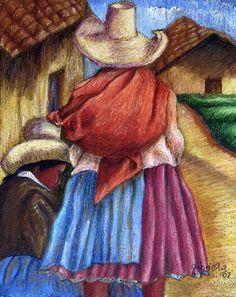imagenes dibujo de coyas - Buscar con Google Easy Canvas Painting, Fabric Painting, Canvas Art, Mexican Artists, Mexican Folk Art, Peruvian Art, Peruvian Women, Mexican Paintings, Navajo Art
