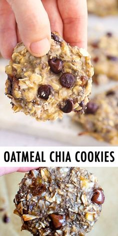 Recipes Snacks Baking These oatmeal chia cookies are perfect for breakfast or as a healthy snack. The texture is chewy and similar to baked oatmeal. Plus they're portable and great for meal prep! Healthy Sweet Snacks, Healthy Cookies, Healthy Sweets, Easy Snacks, Healthy Breakfast Recipes, Healthy Baking, Healthy Meals, Eating Healthy, Healthy Breakfast Cookies