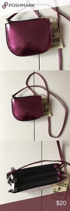 """NWT Metallic Purple Triple Zip Clutch Crossbody Brand new with attached tags. Strap is completely removable so you can carry this as a clutch. Three main zip compartments. 3 credit card slots. Measures 6"""" wide x 4.5"""" tall. Strap drop is 23."""" T-Shirt & Jeans Bags Clutches & Wristlets"""