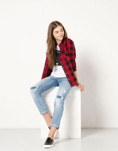 Comfort jeans BSK met rechte pijp - Jeans - Bershka Netherlands