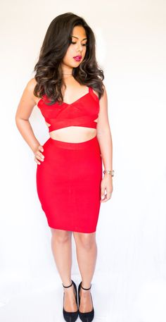 Chloe Bandage two-piece dress in red. Also available in black or white. Wear together or separate by pairing the top with a blazer or bottoms with a classy blouse for work!  www.TopGlamShop.com Best prices on dresses!