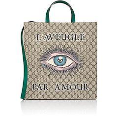 Gucci Men's GG Supreme Eye-Print Shopper Tote Bag ($1,250) ❤ liked on Polyvore featuring men's fashion, men's bags, tan, mens bag and gucci mens bag
