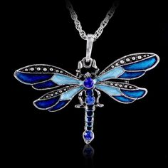 Retro Silver Jewelry Necklace Pendant Dragonfly Crystal Sweater Chain Fashion #Unbranded #Pendant