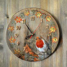 """Купить Часы настенные """"Снегирь"""" - подарок на любой случай, вживление, часы настенные"""