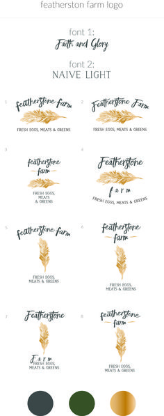Featherstone Farm — gold stamp feather farm logo design