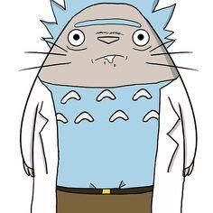 Totoro, Rick, Morty, Hayao, miyazaki, studio, ghibli, adult, swim, neighbor, cartoon,