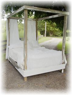 Shabby Chic French Country Bed www.etsy.com/shop/thepolishedpear Great 4 poster bed.