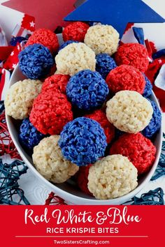 Red White and Blue Rice Krispie Bites - Yummy, bite-sized balls of crunchy, marshmallow-y delight. This is a of July dessert that is easy to make and even yummier to eat. These colorful and festive of July Treats are sure to please your loved ones Fourth Of July Food, 4th Of July Celebration, 4th Of July Party, Fourth Of July Recipes, 4th Of July Ideas, 4th Of July Cake, Patriotic Desserts, 4th Of July Desserts, Patriotic Party