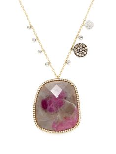 Grey & Pink Sapphire Pendant Necklace from Meira T Fine Jewelry