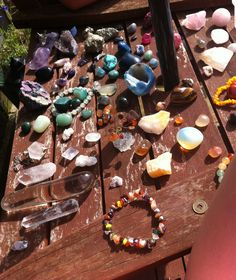 snapshot from today missing loads of my crystals off the edge due to bad camera work because of sun in my eyes :(