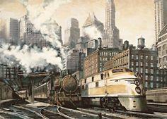 Steam powered train through a metropolis.