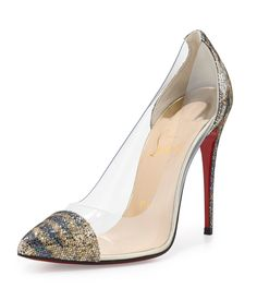 Christian Louboutin Debout Glitter & PVC Red Sole Pump