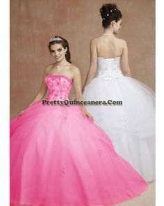 2010 Summer quinceanera dress,Fashionable Quinceanera Dresses 86067-4,discount designer quinceanera ball gowns,Clusters of beads trim the strapless neckline with embroidery decorating the bodice. Asymmetrically draped tulle over skirt on the ball gown with scattered appliqu¨¦s. br /